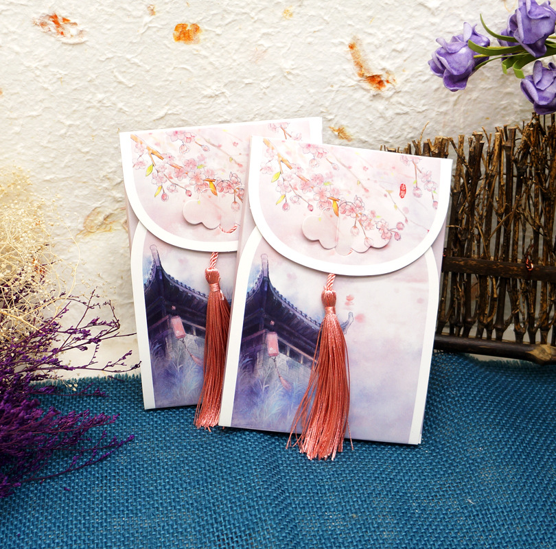 16 Sheets/Set Chinese Courtyard Series Postcard With Small Tassel/Greeting Card/Message Card/Birthday Gift Card