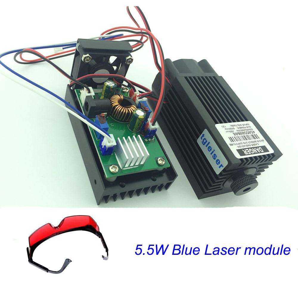 High Power Blue Laser Module,5.5W 450nm Engraving Machine cutting wood TTL Laser Lighting DIY 5500mw tgleiser 450nm 5 5w 12v laser module diy cnc engraver wood cutting machine blue 5500mw power supply knob dimming laser diode