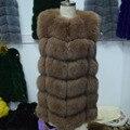 Bienes Fox Chaleco de Piel de Las Mujeres 2017 Nuevo Estilo Genuino Fox Actualizado Abrigo de piel Chaleco Chaqueta Larga de Invierno Ruso Natural Fox Fur Coats chaleco