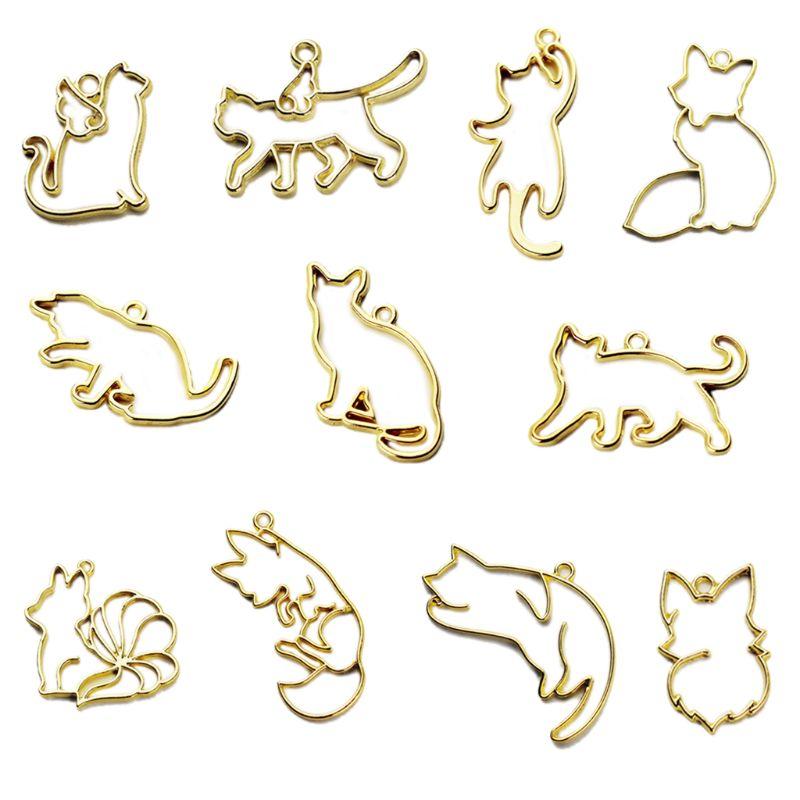 Free Shipping Free Shipping 11pcs/set Fox Cat Metal Frame Pendant Bezel Setting UV Resin Charm Jewelry Casting Craft DIY Mold