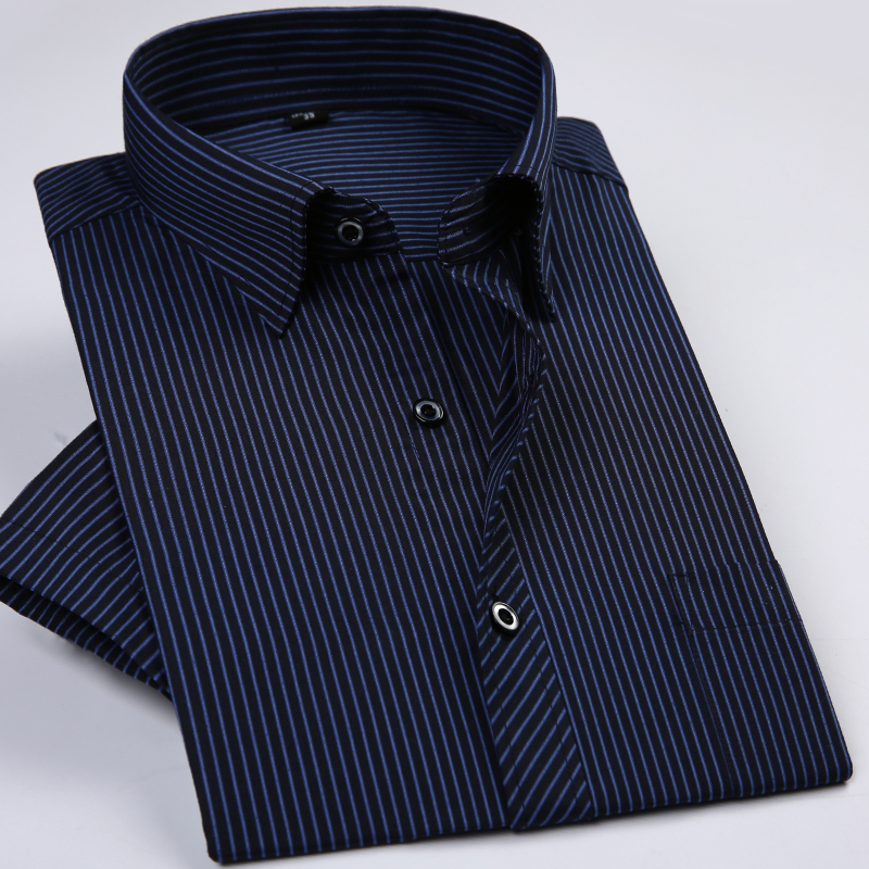 Summer Short Sleeve Striped Regular Fit Non-iron Easy Care Business Men Shirts No Fade No Shrink With Chest Pocket