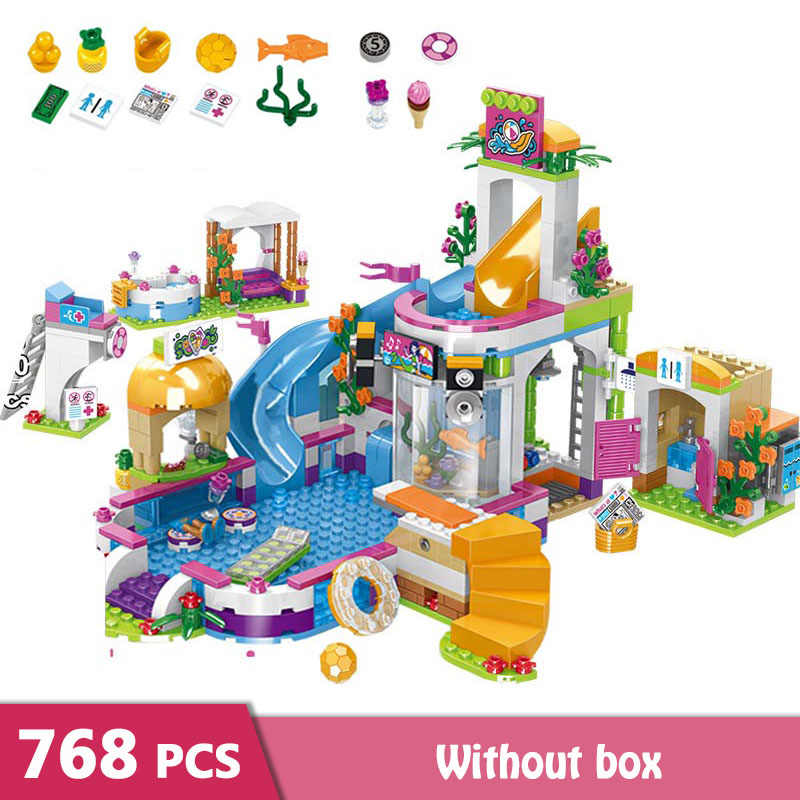 768pcs Girls Building Blocks Swimming Pool Stacking Blocks Bricks Figures Kids Toys for Girls Friends GB09