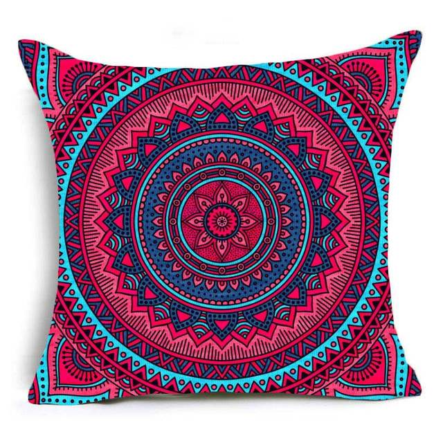 Comwarm Comfortable Chair Pillow Case Colorful Pizzle Psychedelic Indian Mandala Geometry Pattern Travel Polyester Pillow Covers
