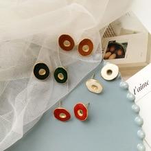 New Fashion Jewelry Irregular Enamel Epoxy Red Green White Hollow Stud Earrings