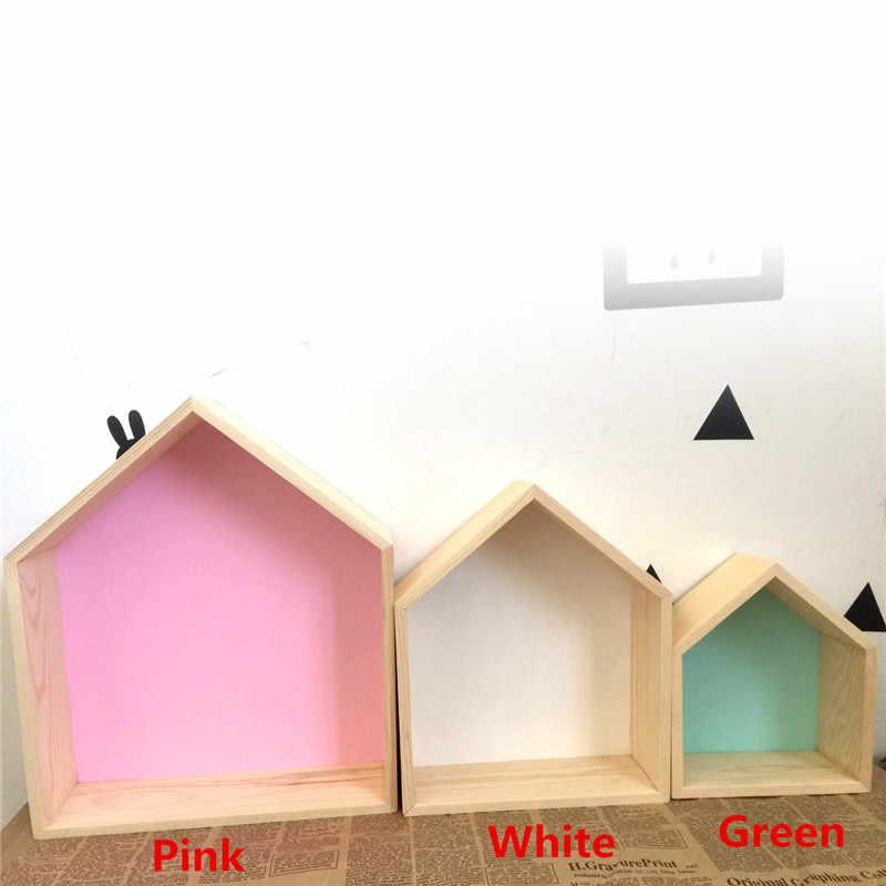 Gran oferta estante de pared del dormitorio DIY Original casa de madera estante de almacenamiento organización columpio estante decoración del hogar Decoración de pared de habitación de los niños