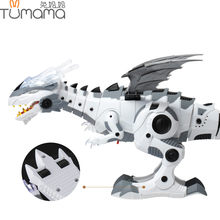Tumama Electronic Pet Walking Dinosaur Roaring Flashing Light Electronic Toys Robot Educational Game Machine Gift For Children(China)