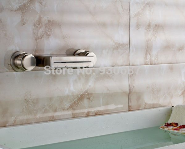 Brushed Nickel Bathroom Sink Faucet Dual Round Handles Wall Mounted Mixer Tap