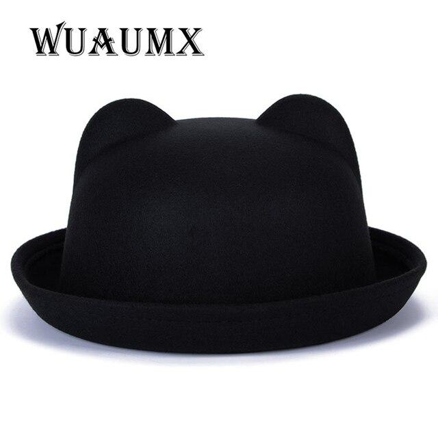Wuaumx Fedoras chapéus para As Mulheres Do Inverno Do Vintage da senhora chapéu de feltro de topo para as meninas homburg chapéu com orelhas de Gato Animais tampas das Mulheres do sexo feminino