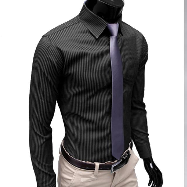 854 20 De Descuentoaliexpresscom Comprar Otoño Nuevo 2018 Hombres Rayas Camisa De Vestir Formal Moda Manga Larga Hombres De Negocios Camisa