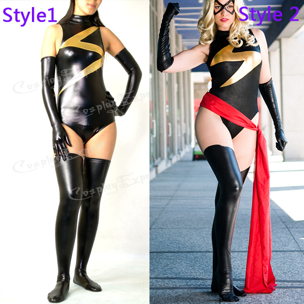 523a2faf5c53 Free Shipping DHL Wholesale Sexy Black and Gold Shiny Metallic Lycra Spandex  Ms Marvel Party Fit Suit Zentai Catsuit TM123