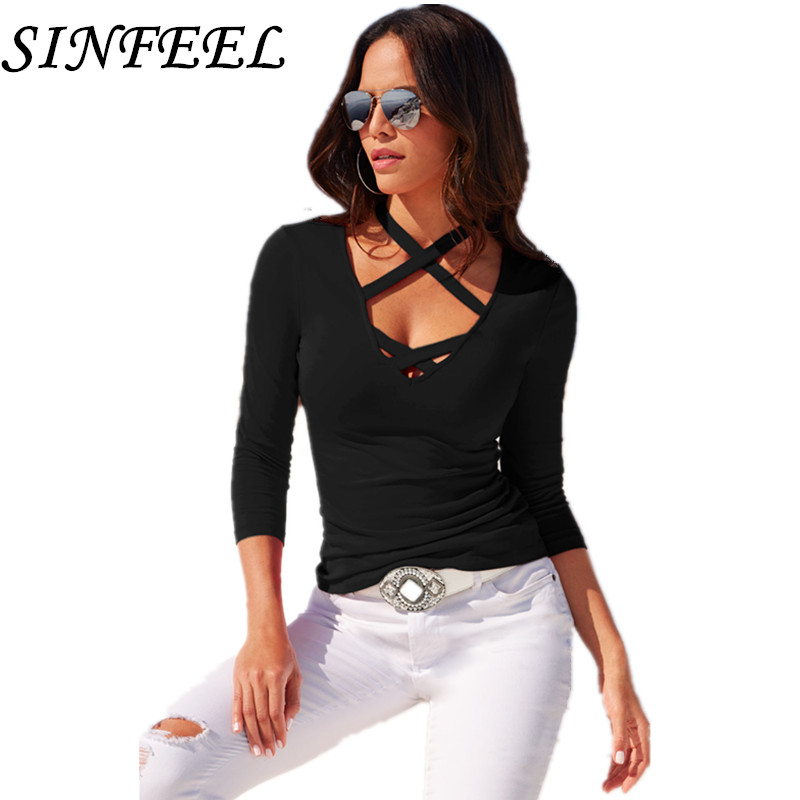 SINFEEL Women's T-Shirt Summer Plus Size Tee Basic Shirts Women Sexy Halter V Neck Long Sleeve Casual Big Size Female Tops Femme