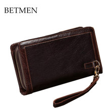 BETMEN 2016 High Quality Genuine Leather Clutch Wallet Bag First Layer Leather Handbags with Wristband Vintage Organizer Purse