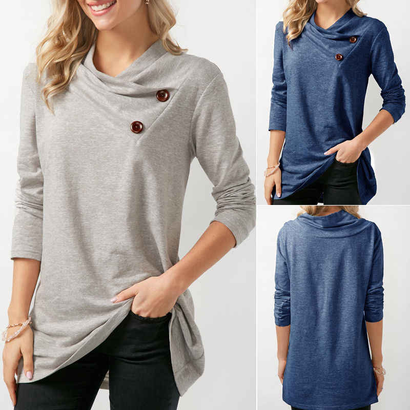 e8bef9309781 MeiHuiDa 2018 New Style Fashion Women s Blouse Tops Long Sleeve Cowl Neck Casual  Loose Party Pullover