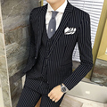 Mens Striped Suit 2016 Fall Winter Wedding Groom Suit Black Grey Stripe Busines Formal Suit  Costume Mariage Homme Gray Tuxedo