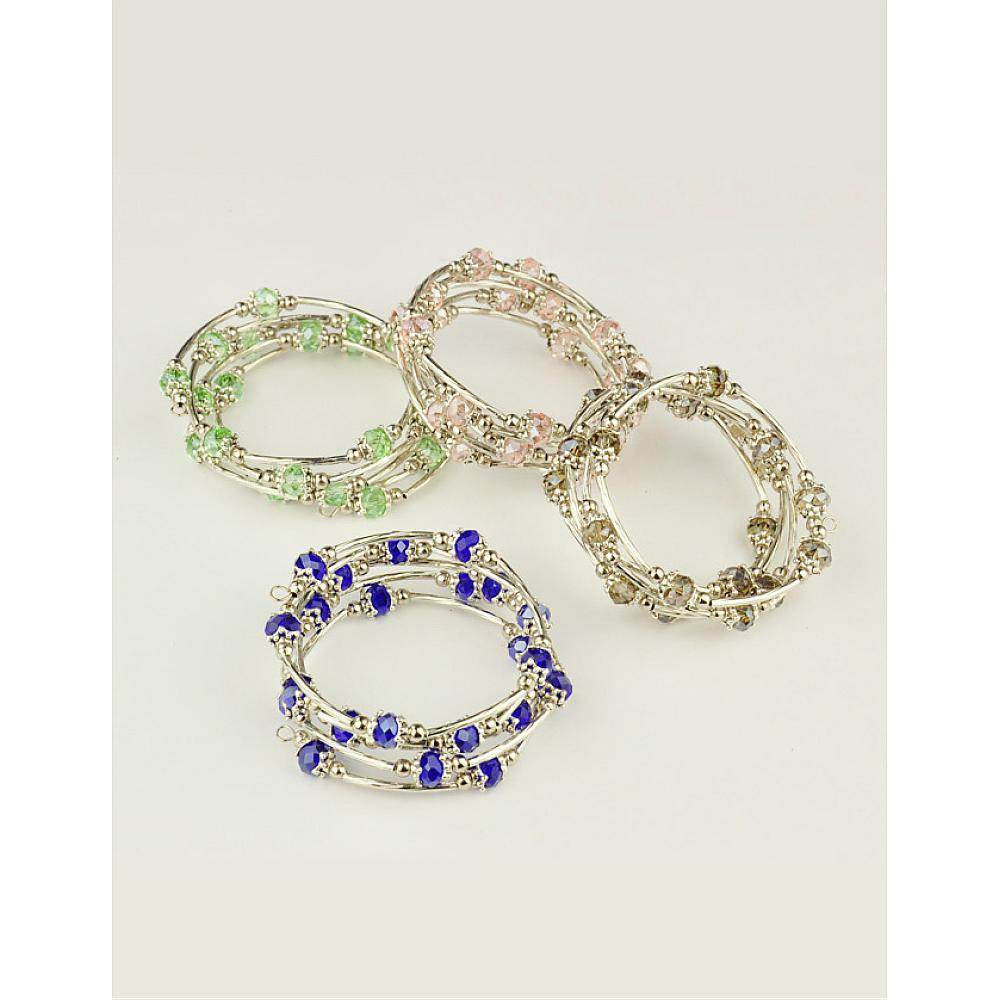 Confident 30 Strands Mixed Color Fashion Wrap Bracelets With Abacus Glass Brass Tube Beads Tibetan Style Bead Caps & Steel Memory Wire