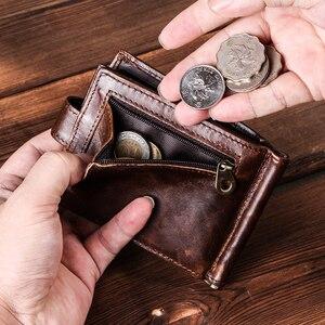 Image 4 - Contacts Hasp Design portafogli da uomo fermasoldi corto portafoglio da uomo in vera pelle sottile portafoglio Bifold porta monete Carteras