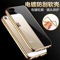 Chapeamento de Galvanização de luxo Ultra Fina Crystal Clear Borracha TPU Macio Celular tampa da caixa de telefone para o iphone 7 7 s plus 6 6 s plus 5S