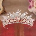 Fashion baroque luxury queen crystal tiaras full rhinestone pearl crown headband women headwear wedding bridal hair accessories