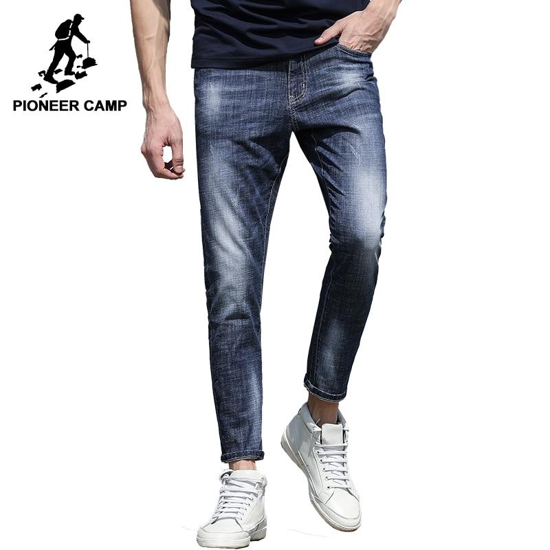 Pioneer Camp New arrival jeans pants men brand clothing slim fit fashion denim trousers male top quality pencil pants ANZ707017 2017 new designer korea men s jeans slim fit classic denim jeans pants straight trousers leg blue big size 30 34