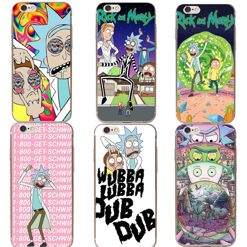 Rick and Morty Transparent Hard Phone Case For Apple iPhone 5 5S 6 6S Plus SE 7 7Plus X XR XS MAX 8 8Plus Black Cover Coque