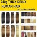 MÁS GRUESA Cabeza Completa de seda suave remy Brasileña Del Pelo Humano Clips En/en Extensiones 12 unids 240g Fijó 28 colores para elegir