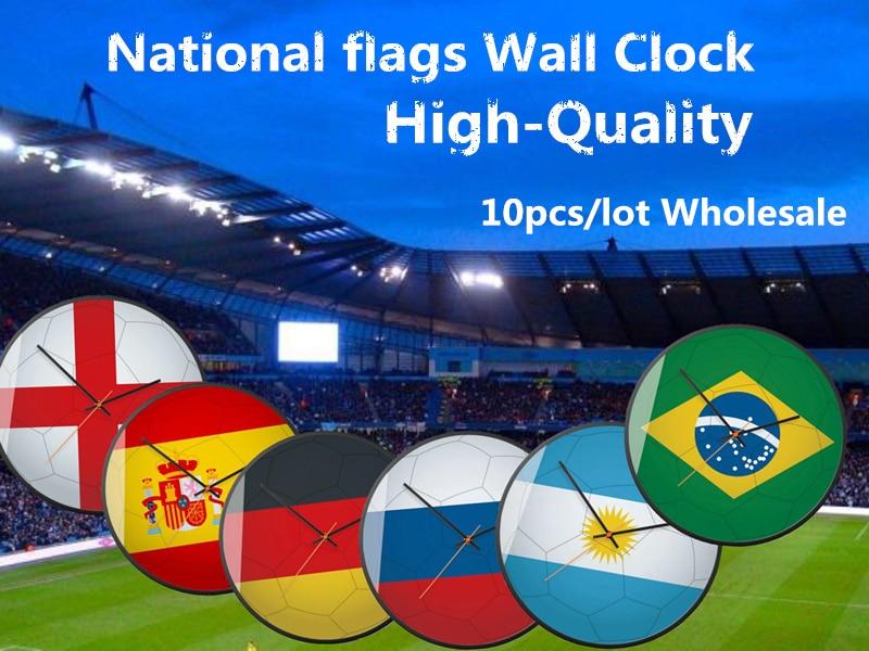 10PCS DIY Creative Mini Silent Wall Clock  6 National Flags Pattern Small Mute Livingroom Bedroom Hanging Clocks Easy To Install