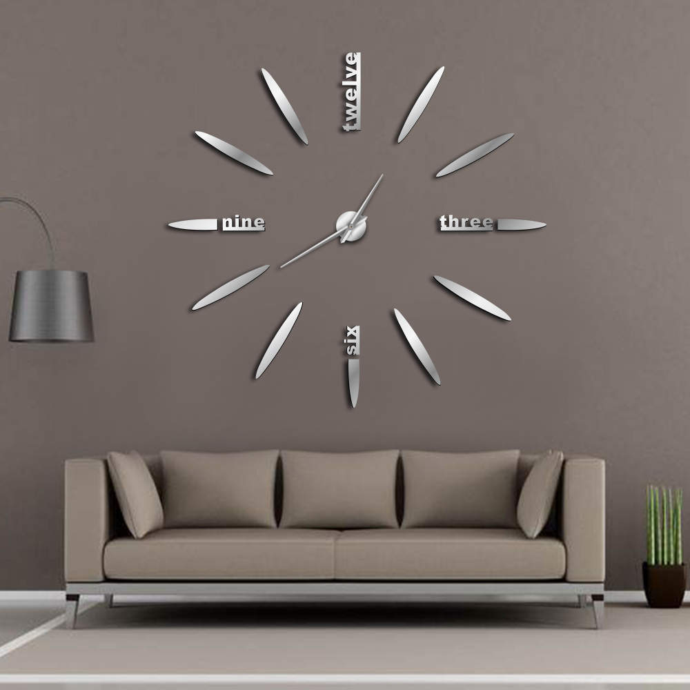 Frameless DIY Wall Clock 3D Mirror Wall Clock Large Mute Wall Stickers For Living Room Bedroom Home Decorations Big Time Clock