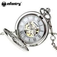 ทหารราบนาฬิกาพ็อกเก็โบราณวิศวกรรมโครงกระดูกชุดสร้อยคอนาฬิกาพ็อกเก็ของขวัญโซ่จี้เงินRelógio...