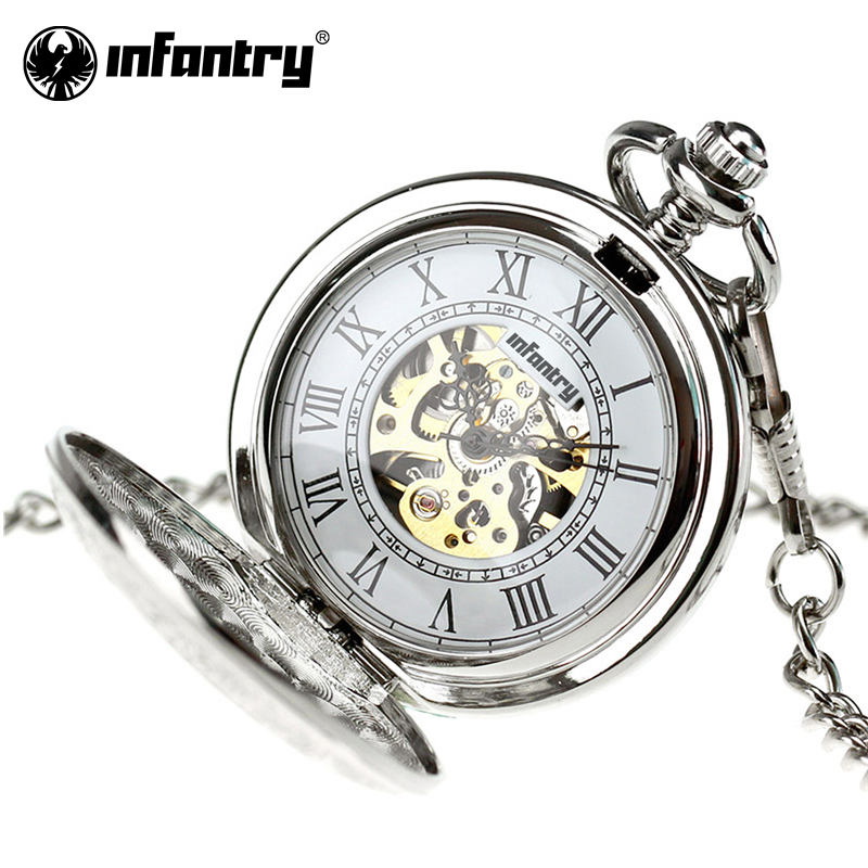 INFANTRY Pocket Watch Antique Mechanical Skeleton Dress Pocket Watch Necklace Pendant Chain Gift Silver Relogio 2017 antique bronze classic royal flush poker pattern quartz pocket watch necklace pendant chain men women gifts relogio de bolso