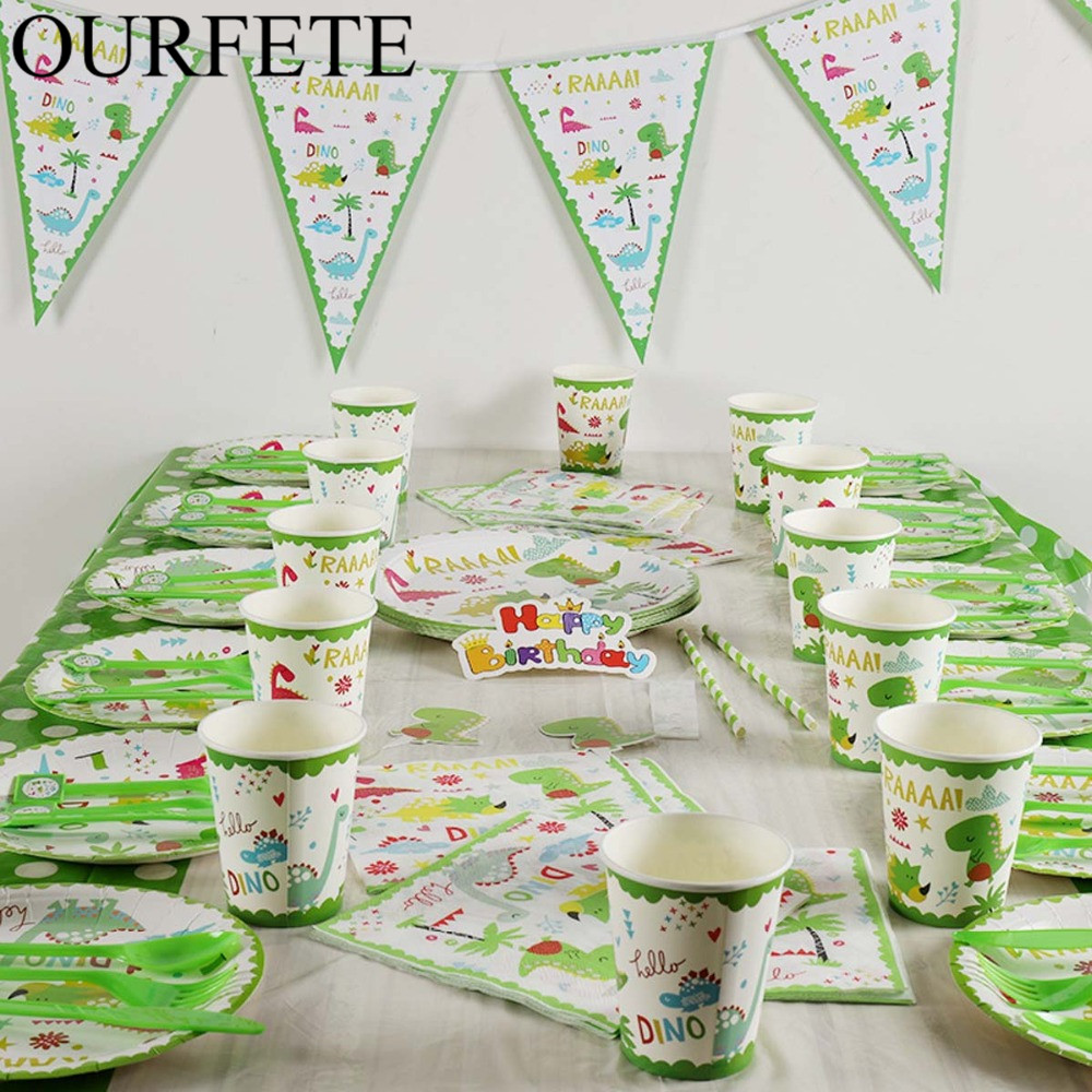 Dinosaur Theme Party Tableware Set Disposable Paper Plate Cup Tablecloth Cake Topper Happy 1ST Birthday Party Supplies For Boys