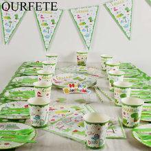 Conjunto de vajilla para fiesta con temática de dinosaurio, taza y plato de papel desechable, mantel, pastel, suministros de fiesta de cumpleaños para niños