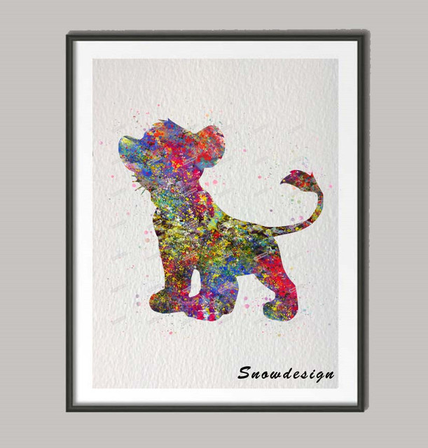 Original Watercolor Lion King Simba Baby poster print Pictures ...