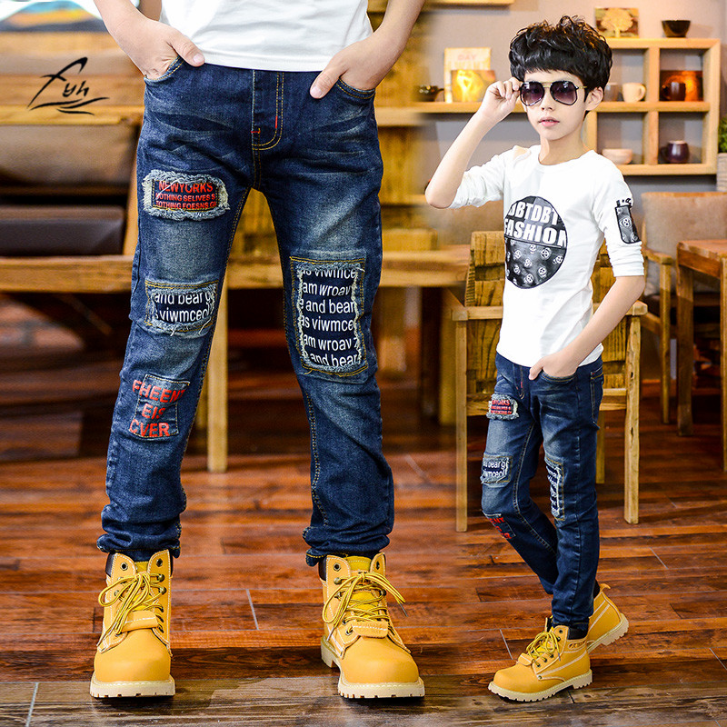 Boys Pants Pioneer Kids Boy Jeans Elastic Waist Casual Jeans Spring Autumn Boys Jeans Children's Fashion Teenager Boys' Trousers
