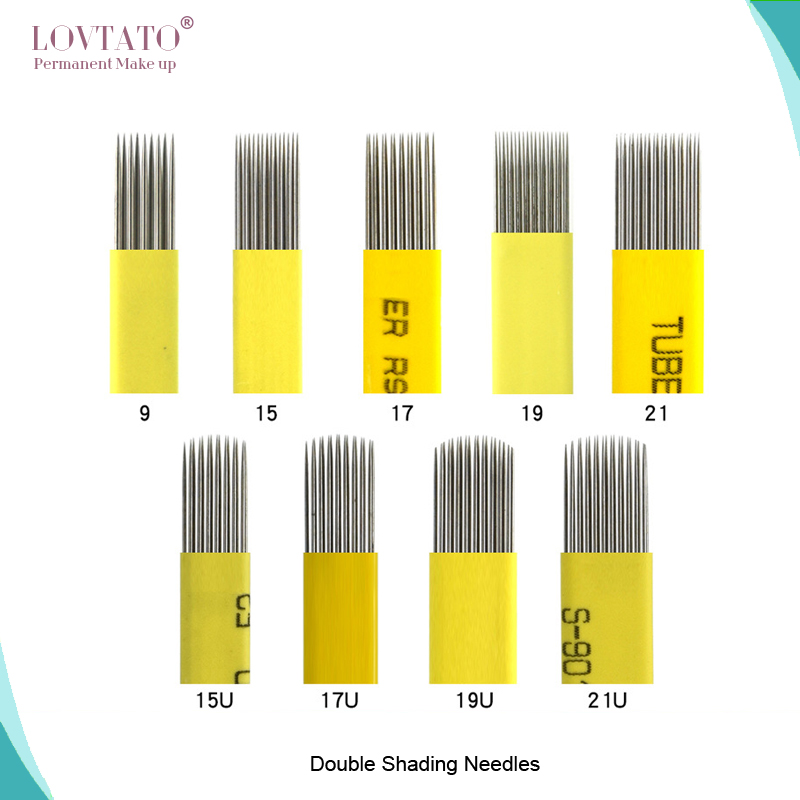 Double Shading Needle Microblading Shade Blade Tattoo Needles DOUBLE-ROW Fog Brow 3D Eyebrow Blades Aiguille Agujas Tattoos50pcs