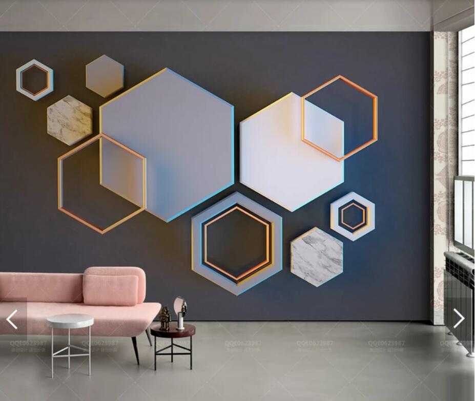 Abstract Geometric Hexagon Wall Mural