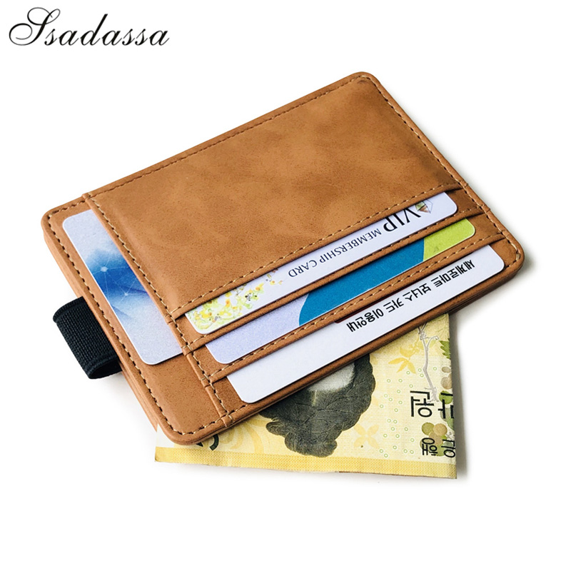 Portable Mini Men's Leather Credit Card Holder Slim Elastic Ribbon Business Cardholder Documents Wallet Coin Purse For Female