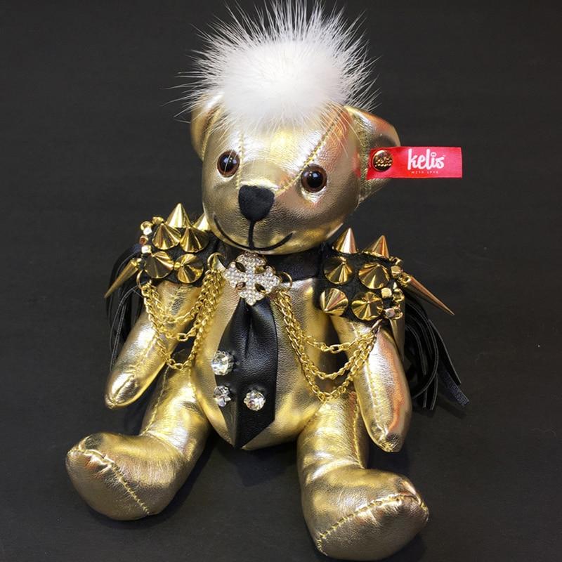 Andybeatty 12CM Rex Fur bear Keychain Pendant Charm Bunny Keychains For Women Purse Bag Keyrings Gift