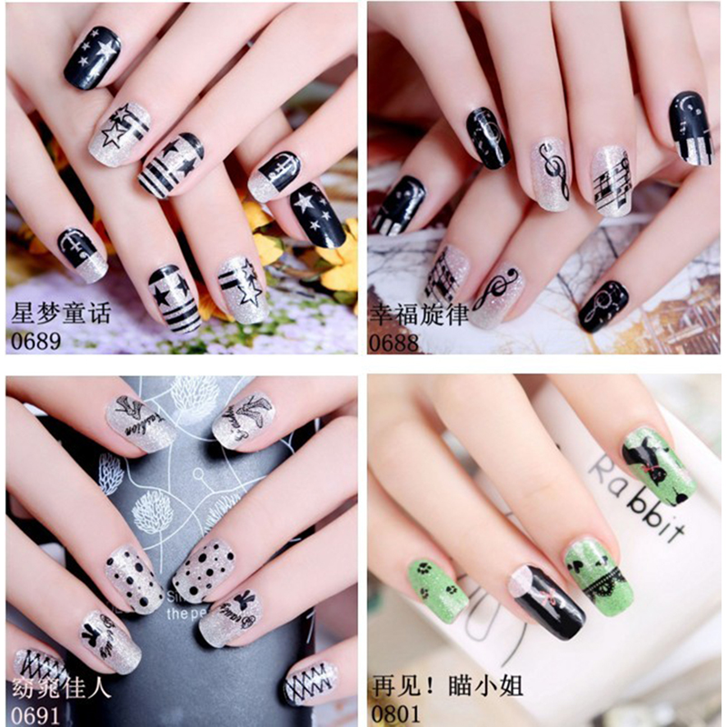 Ladies nail sticker korea gel polish nail art false nails maquillaje ...