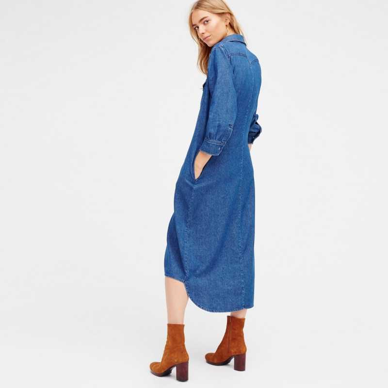 HDY Haoduoyi модное джинсовое платье миди для женщин 3/4 рукав женское прямое платье короткий стиль однотонное синее Повседневное платье на одной пуговице