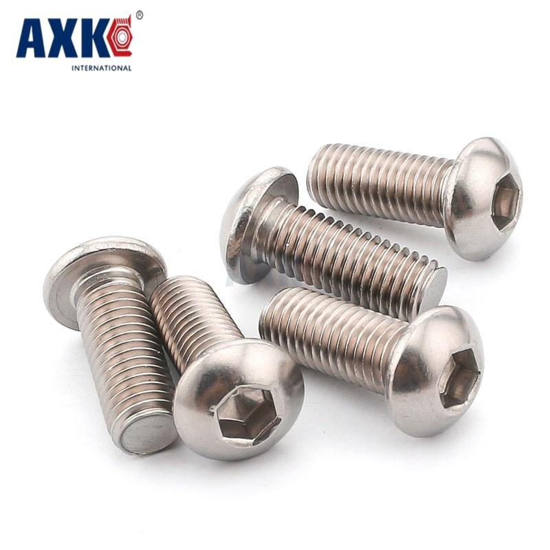 Axk 50pcs M2 M2.5 M3 M4 Iso7380 Stainless Steel 304 Round Head Screws Mushroom Hexagon Hex Socket Button Head Screw Bolt все цены