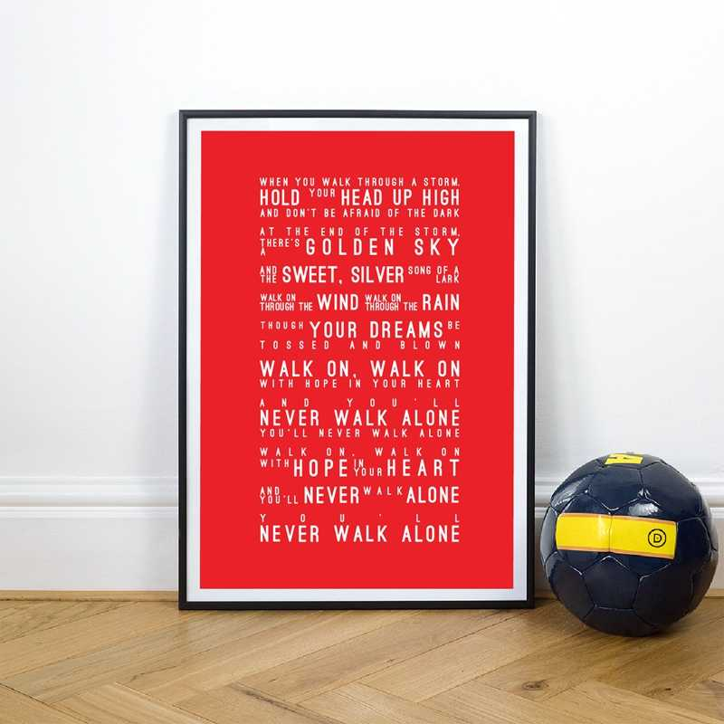 You'll Never Walk Alone Lyrics Canvas Art Prints Poster , Liverpool Football Club Canvas Painting Home Wall Decoration