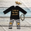 "girls boutique clothing heart strips pants set full sleeve black ""i woke up like this flawless"" with matching necklace and bow"