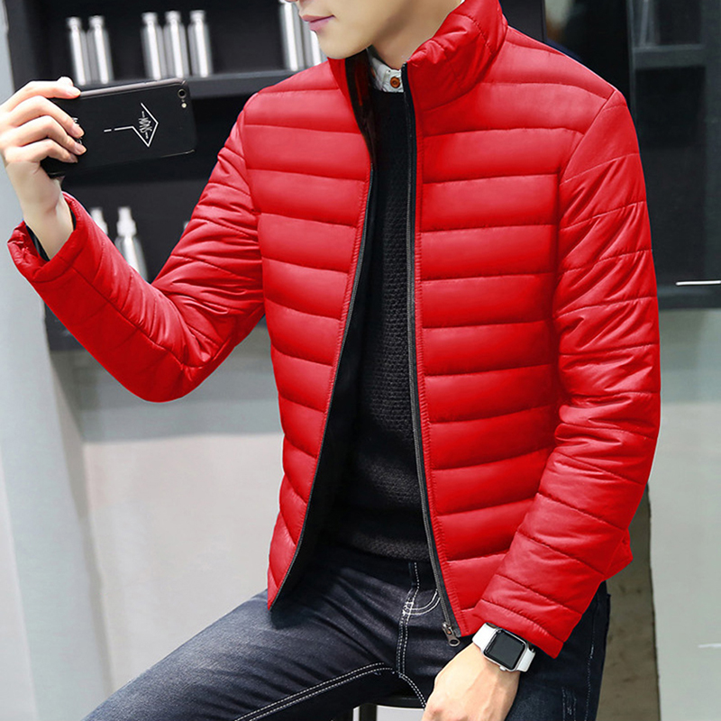 New Fashion Winter   Parkas   Men Outerwear Casual Slim Stand Collar Zipper   Parkas   Male Cotton-Padded Jacekt Plus Size Overcoat