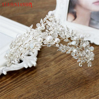 XIAONIANSHI Floristic Pearl Crystal Handmade Tiara Crown Hair Jewelry Summer Bridal Hair Accessories Best Head Piece