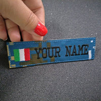Custom Embroidery Italy Name Patch, 2 pcs Personalized Military Number Tag  Customized Logo ID For