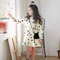 בנות אביב סתיו דוט מודפס ילדי שמלות תינוק שמלת נסיכת שרוול ארוך o-צוואר מזדמן בז 'ילדה מסיבת בגדי 4-13 שנים