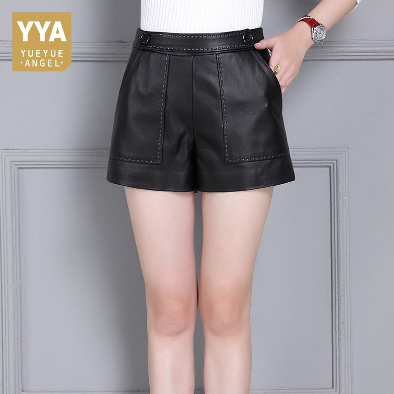 Sheepskin Genuine Leather Womens Shorts Zipper Wide Leg Skinny Trousers Female Plus Size S-4XL OL Slim Fit Casual Leather Shorts