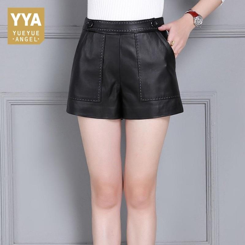 Sheepskin Genuine Leather Womens Shorts Zipper Wide Leg Skinny Trousers Female Plus Size S-4XL OL Slim Fit Casual Leather Shorts