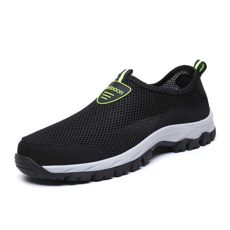 2019 г. Модная мужская повседневная обувь летние мужские кроссовки из дышащего сетчатого материала без шнуровки на плоской подошве, водонепроницаемые Лоферы мужская обувь, большой размер