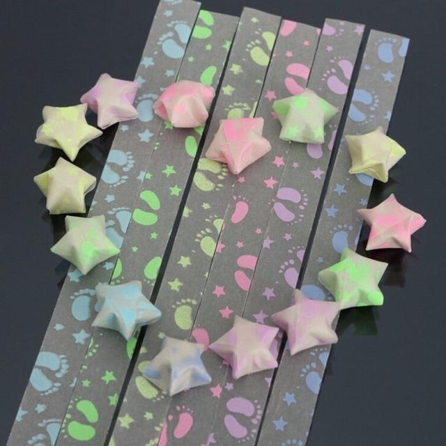 30Pcs DIY Footprint Folding Kit Lucky Origami Wish Star Paper Strips ...